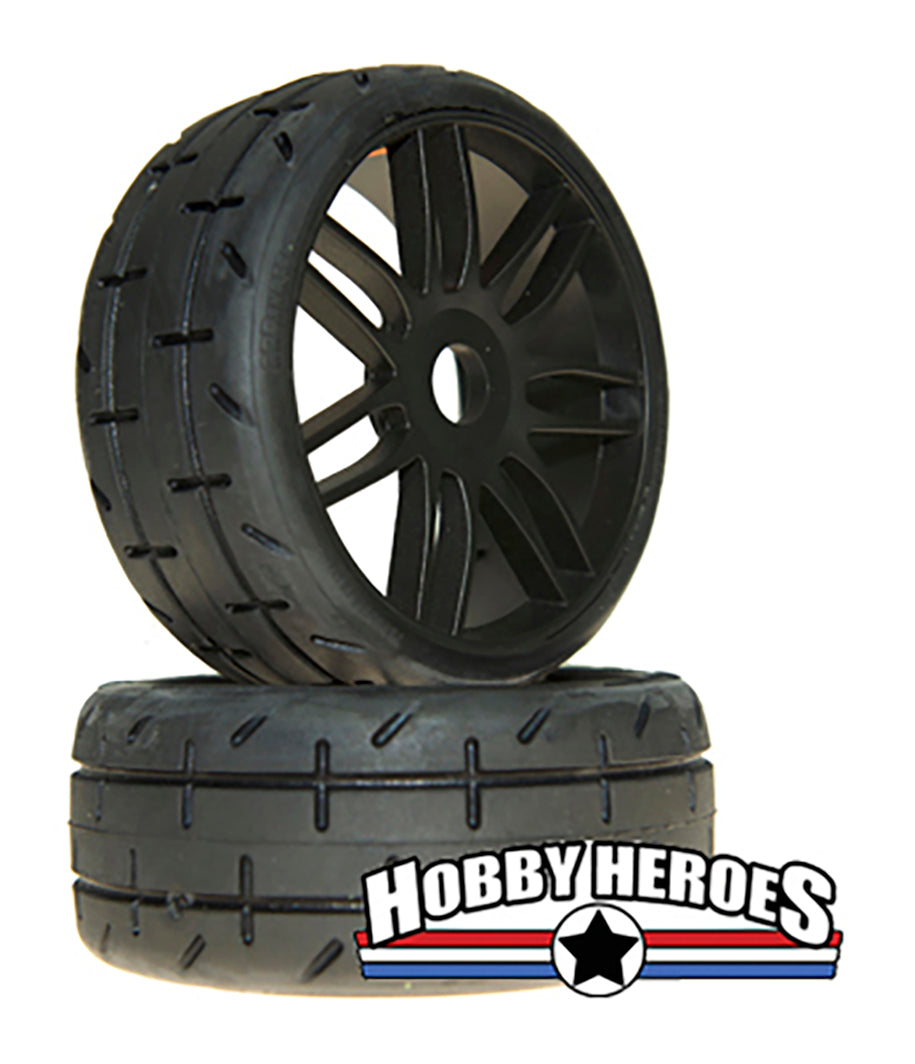 GRP GTX01-S4 1:8 Treaded Soft/Medium Black Spoked Belted Rubber Tires