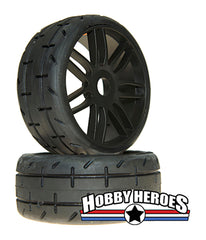 GRP GTX01-S5 1:8 Treaded Medium Black Spoked Belted Rubber Tires