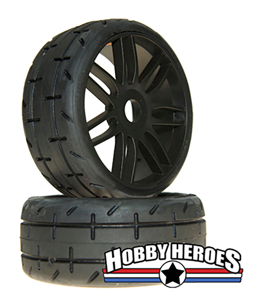 GRP Tyres 1:8 GT Treaded S2 XSoft Black Spoked Belted On-Road Rubber Tires GRPGTX01-S2