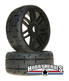 GRP GTX01-S4 1:8 Treaded Soft/Medium Black Spoked Belted Rubber Tires GRPGTX01-S4