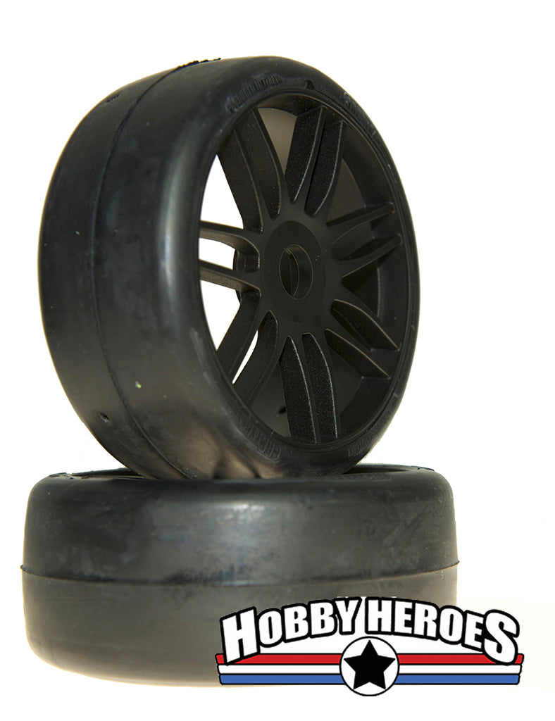 GRP Tyres 1:8 GT Slick S7 Medium Hard Black Spoked Belted On-Road Rubber Tires GRPGTX02-S7