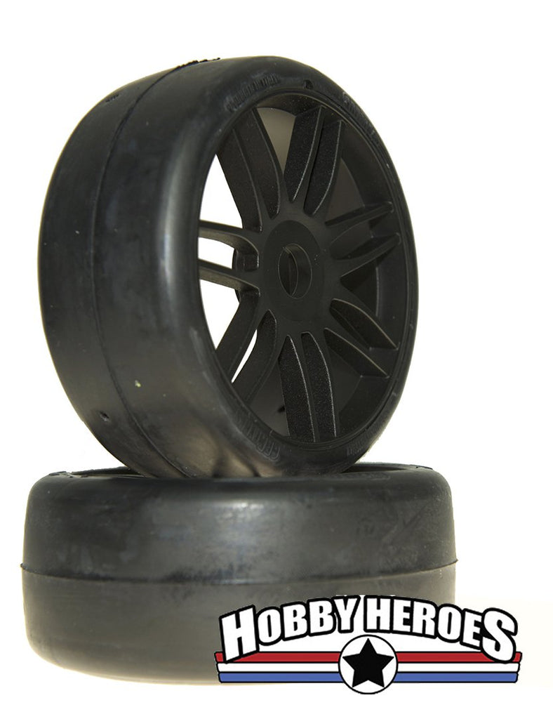 GRP Tyres 1:8 GT Slick S2 XSoft Black Spoked Belted On-Road Rubber Tires GRPGTX02-S2