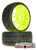 GRP Tyres 1:8 GT Treaded S2 Soft Yellow New Style Spoke Belted On-Road Rubber Tires GRPGTY01-S2