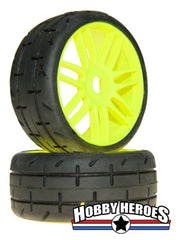 GRP GTY01-S3 1:8 GT Treaded S3 Soft Yellow Spoked Belted Rubber Tires