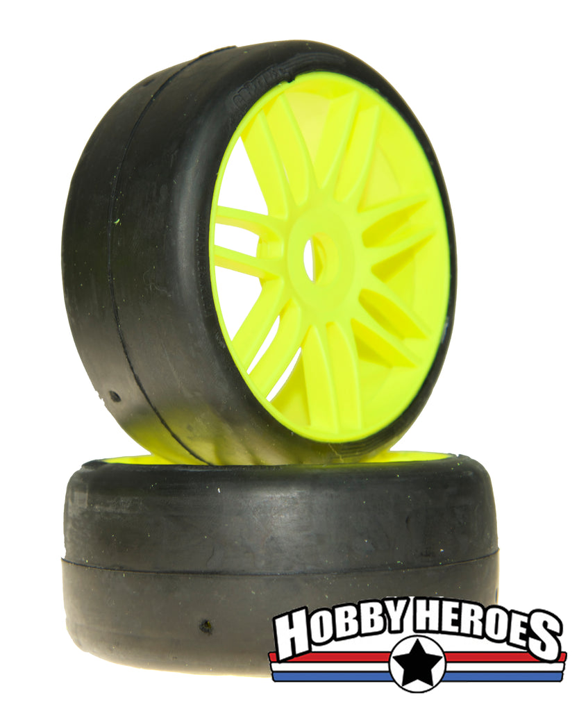 GRP Tyres 1:8 GT Slick S7 Medium Hard Yellow Spoked Belted On-Road Rubber Tires GRPGTY02-S7