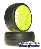 GRP GTY02-S1 1:8 GT Slick S1 XXSoft Yellow Spoked Belted Rubber Tires