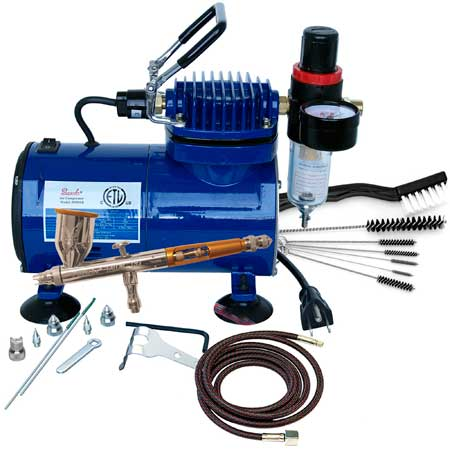 Paasche Airbrush & Compressor Package: TG3F, D500SR, & AC7 PASTG100D
