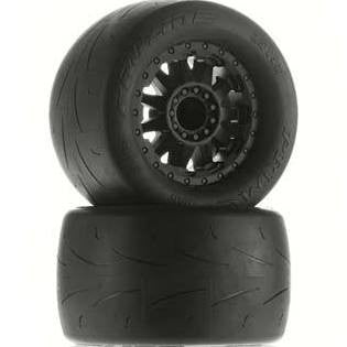 "Pro-Line Prime 2.8"" (Traxxas Style Bead) Street Tires Mounted on F-11 Black Wheels (2) for JATO, Nitro Stampede/Rustler Rear or Electric Stampede/Rustler Front and PRO-MT, Stampede 4X4 Front and Rear"
