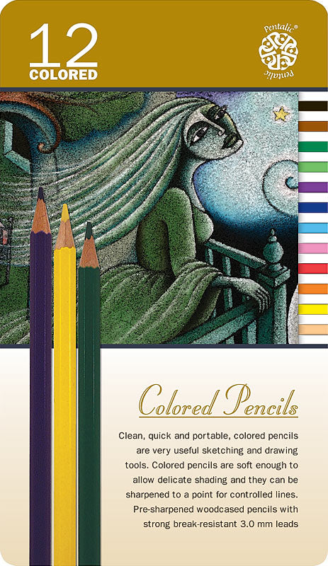 Pentalic Colored Pencil Tin 12 Color Set PTL897312