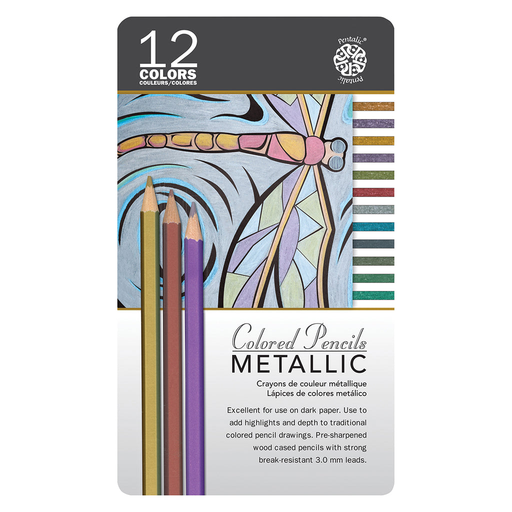 Pentalic Metallic Colored Pencils 12 Color Tin Set PTL897412