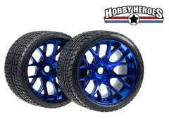 Sweep Road Crusher On road Belted Blue Chrome Monster Truck Rubber Tires (2) NEW SWSRC1001BC
