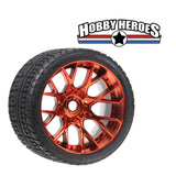 Sweep Road Crusher On road Belted Red Chrome Monster Truck Rubber Tires (2) NEW SWSRC1001R