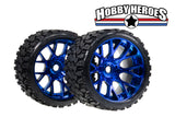 Sweep Terrain Crusher Off road Belted Blue Chrome Monster Truck Rubber Tires NEW SWSRC1002BC