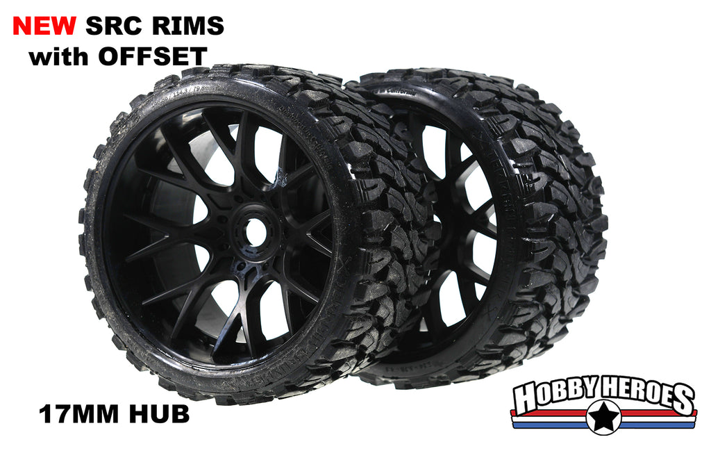 Sweep Terrain Crusher Off road Belted Black Monster Truck Rubber Tires NEW SWSRC1002B