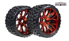 Sweep Terrain Crusher Off road Belted Red Chrome Monster Truck Rubber Tires (2) NEW SWSRC1002R