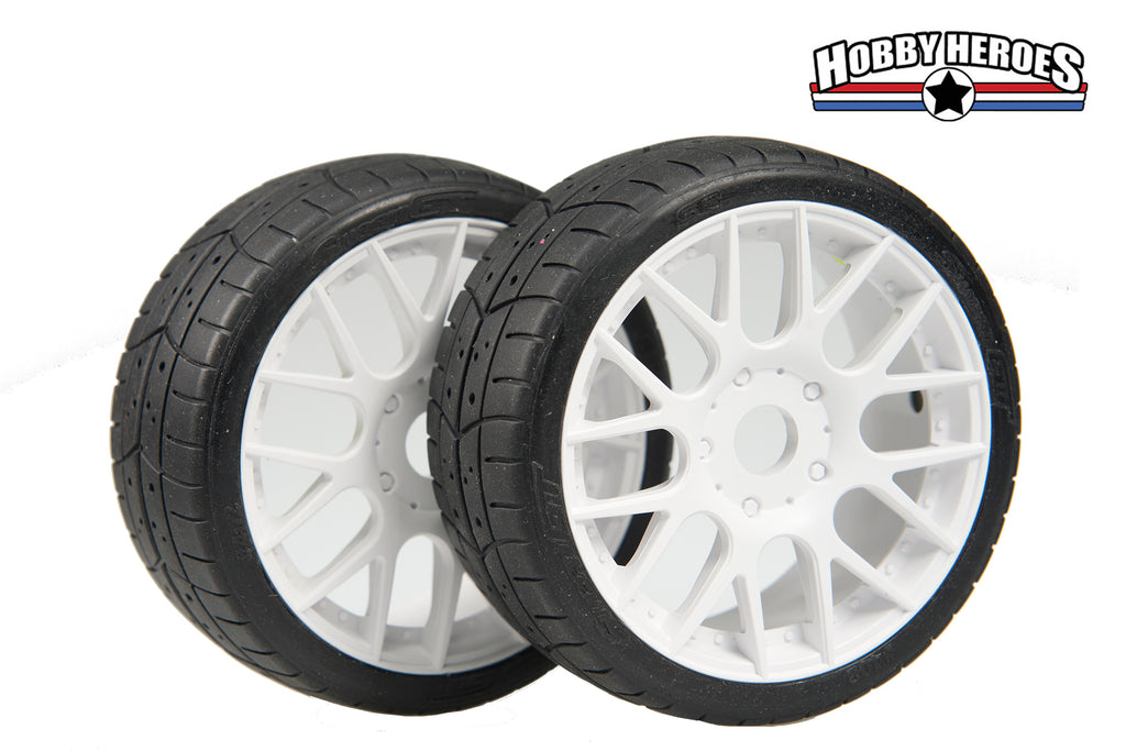 Sweep GT Slick  SPEED RUN tires on White multi spoke rims 95mm SW4314015