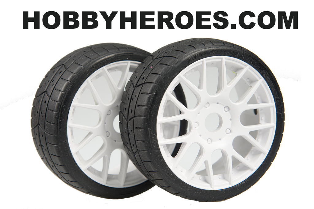 Sweep GT Treaded 45 Shore White Spoke Rim On Road Rubber Tires. SW40245E415