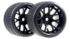 Sweep Racing Road Crusher On Road Belted Black Monster Truck Rubber Tires (2)  SWSRC1001B