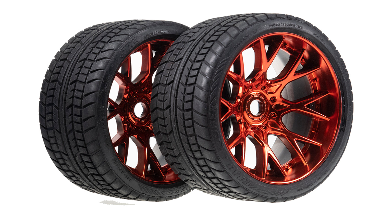 Sweep Racing Road Crusher On Road Belted Red Chrome Monster Truck Rubber Tires (2) SWSRC1001R