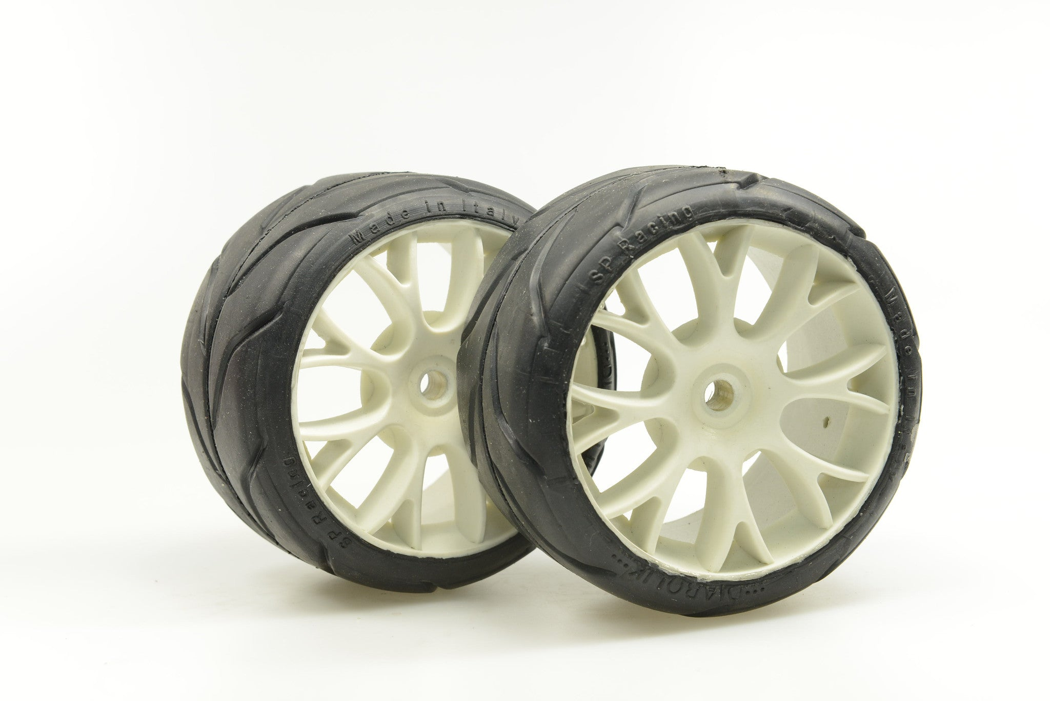 "SP RACING 1/5th ""ATOMIC"" RADIAL SPORT  COMPOUND ""A"" soft mounted on 6 spoke white wheel for fg-harm-Genius-others. SP06050."