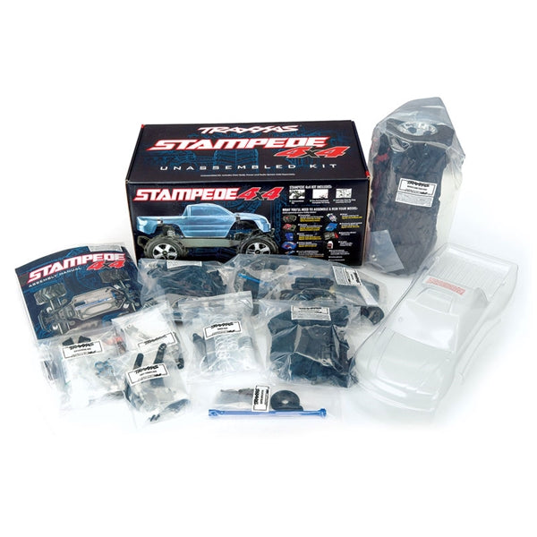 Traxxas Stampede® 4X4 Unassembled Kit: 1/10-Scale 4WD Monster Truck w Clear Body. Radio System (Transmitter, Receiver, Servo) and Power System (ESC, Motor) Not Included TRA67010-4