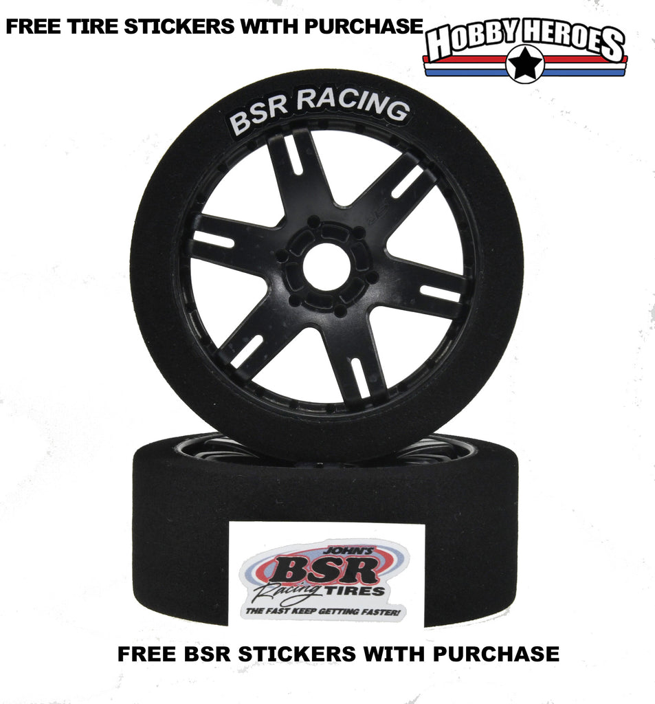 BSR FOAM TIRES 35 SHORE MOUNTED ON BLACK SPOKE RIMS HHBSR35