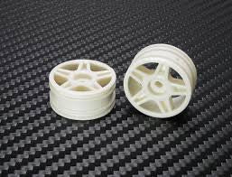 PN Racing Mini-Z Buggy Laser Star Front Wheel White (2pcs) PNRBL5001