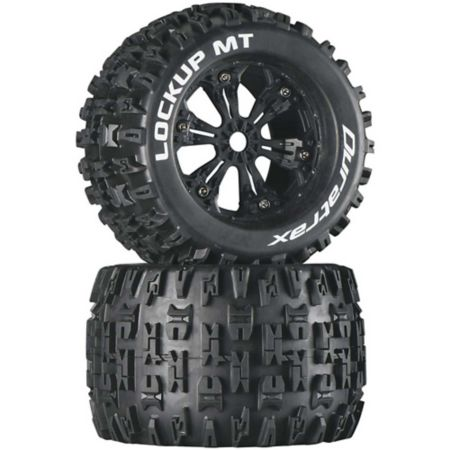 "Duratrax Lockup MT 3.8"" Mounted Tires, Black (2) DTXC3578"