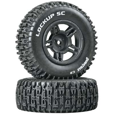 Duratrax Lockup SC Tire C2 Mounted Black Slash Blitz SCRT10 (2) DTXC3671