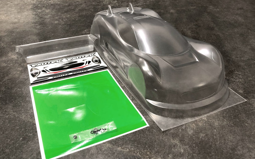 Exotek J-ZERO 1/10 190mm USGT Race Body, Clear Lexan w/ Wing EXO1884