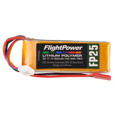 Flight Power LiPo FP25 3S 11.1V 800mAh T-Rex Star Plug FPWP2093