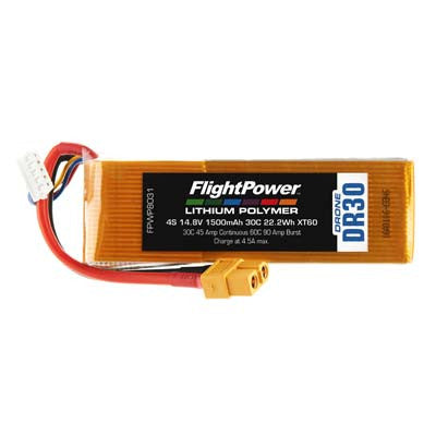 Flight Power Drone 4S 14.8V 1500mAh 30C XT60 Plug FPWP8031