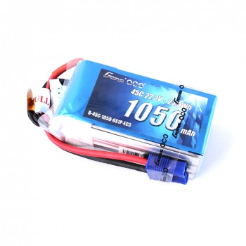 Gens Ace 1050mAh 22.2V 45C 6S1P Lipo Battery Pack with EC3 Plug GAB45C10506S1PEC3