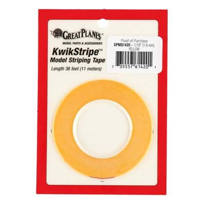 Great Planes Stripe Tape-Yellow 1/16in GPMQ1420