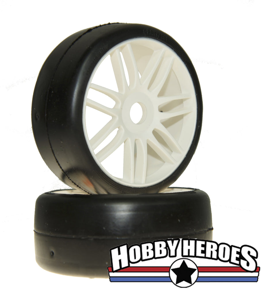 GRP Tyres 1:8 GT Slick S1 XXSoft White Spoked Belted On-Road Rubber Tires GRPGTH02-S1