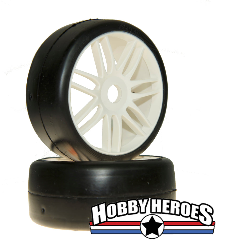 GRP Tyres 1:8 GT Slick S2 XSoft White Spoked Belted On-Road Rubber Tires GRPGTH02-S2