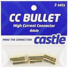 Castle Creations 4mm Bullet Connector 16G/13G 75A (3) CSECCBUL4X3