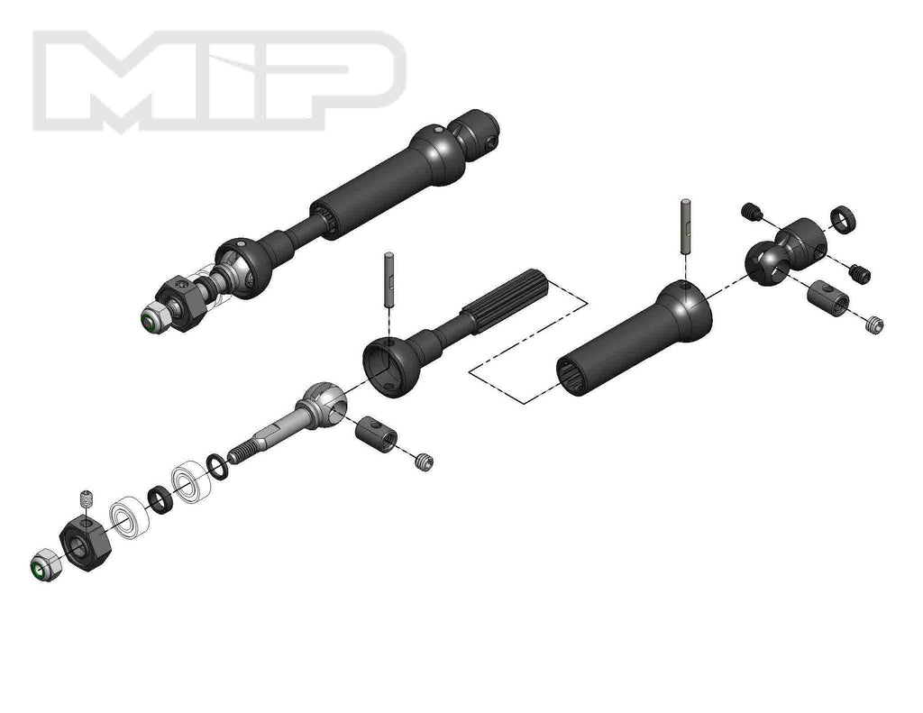 MIP X-Duty CVD Drive Kit, Rear, 87mm to 112mm w/ 10mm x 5mm Bearing, for Traxxas Slash/Rally/Stampede MIP18140