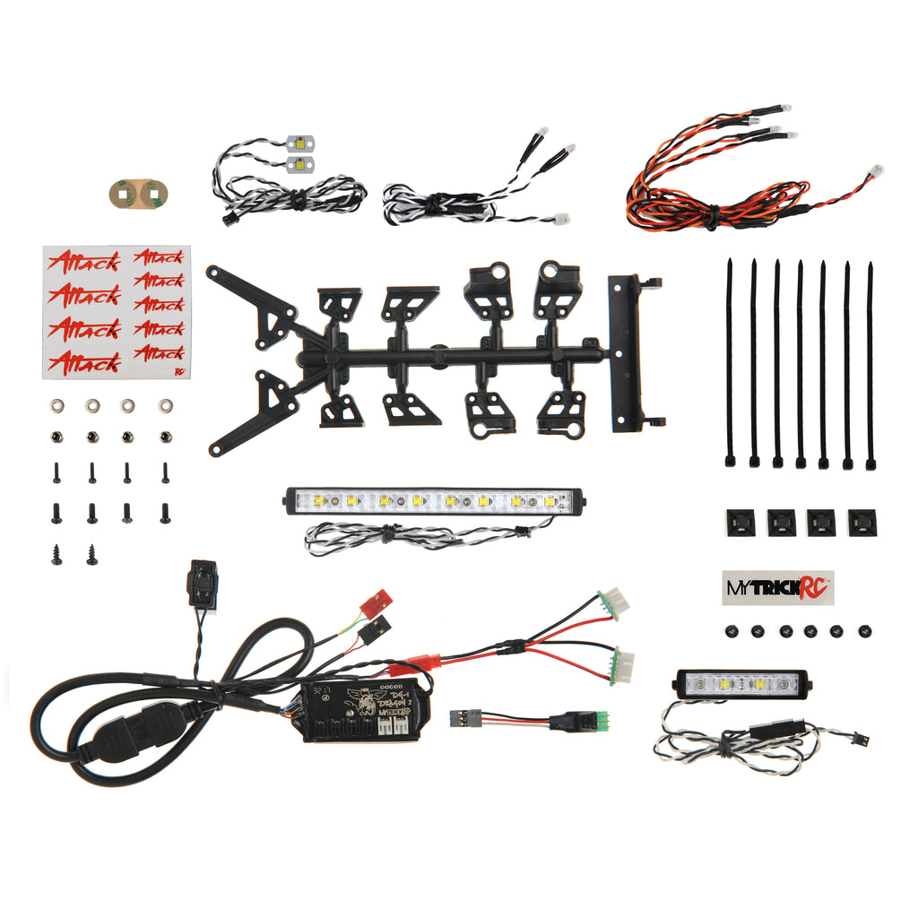 "My Trick RC Attack Off-Road 1052 Light Bar Kit- 1-DG-1 Controller, 2-Light Bars 2""& 5"", 2-Hi-Power Headlights, 6 MYKAO1052"