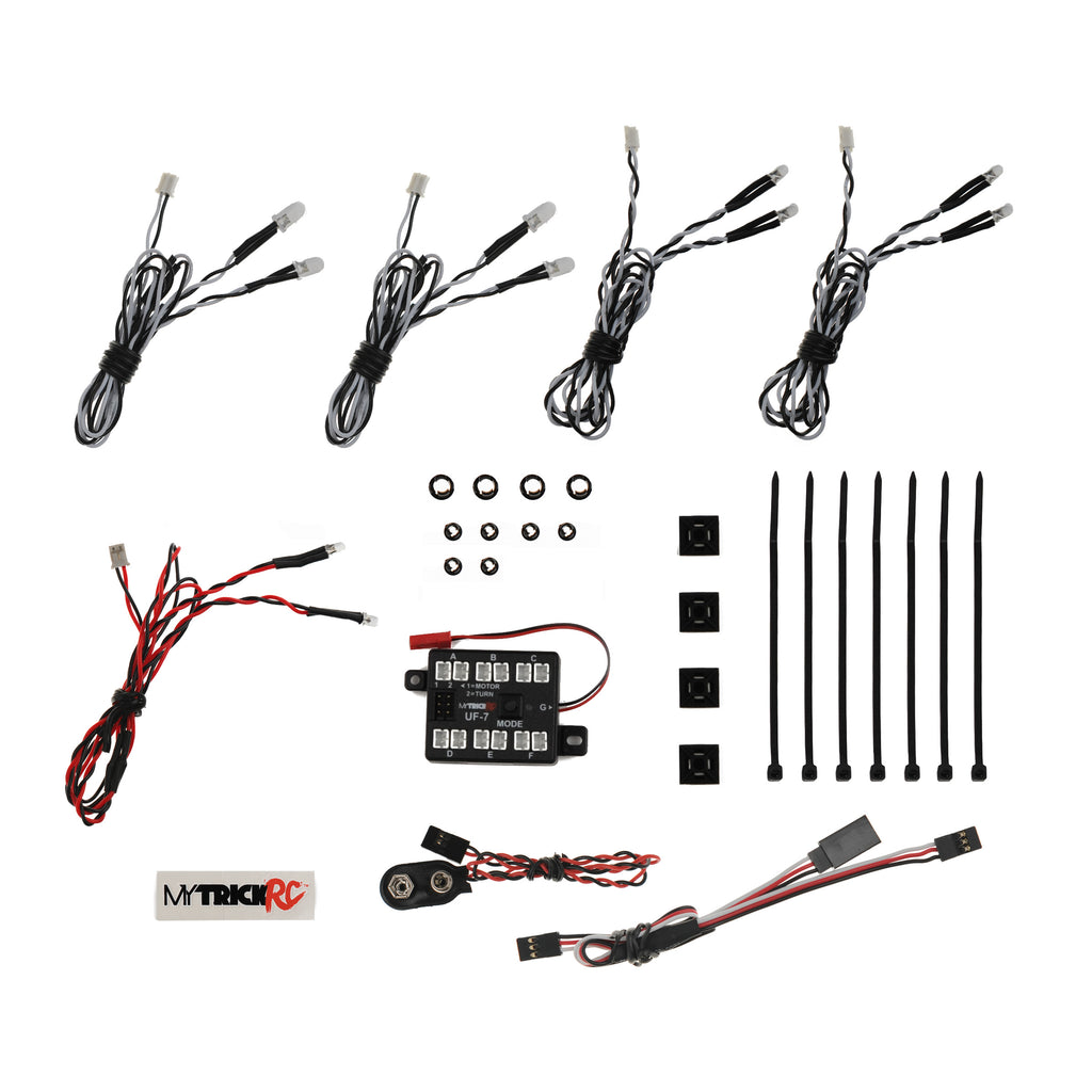 My Trick RC Short Course Basic Light Bar Kit- 1-UF-7 Controller, 4-White, 2-Red (5mm) / 4-White (3mm) MYKOR1