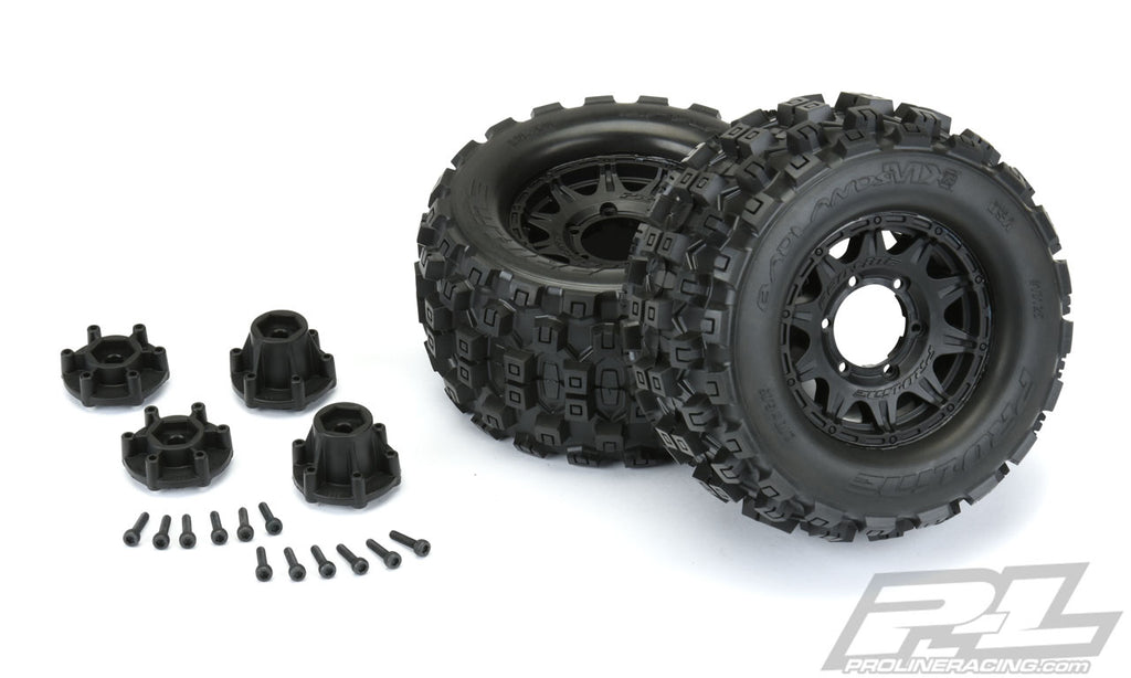 "Pro-Line Badlands MX28 2.8"" All Terrain Tires Mounted on Raid Black Wheels (1 Pair) PRO10125-10"