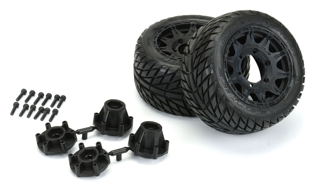 "Pro-Line Street Fighter LP 2.8"" Street Tires Mounted on Raid Black Removable Hex Wheels (2) Stampede/Rustler PRO10161-10"