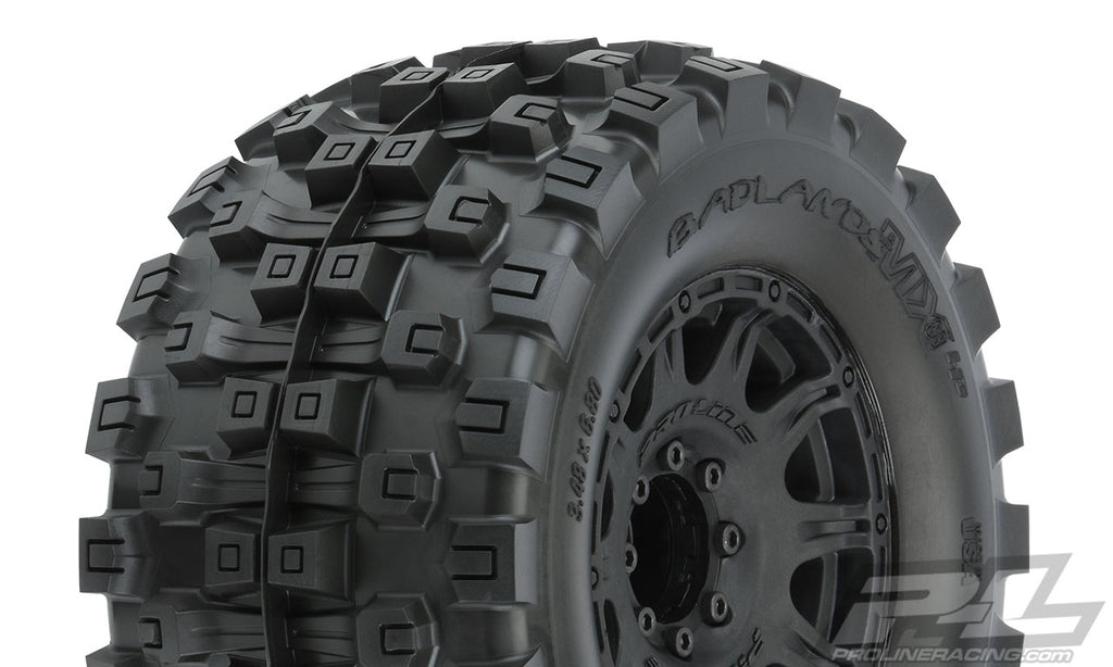 "Pro-Line Badlands MX38 HP 3.8"" All Terrain Belted Tires, Mounted on Raid Black 8x32, for MT PRO10166-10"