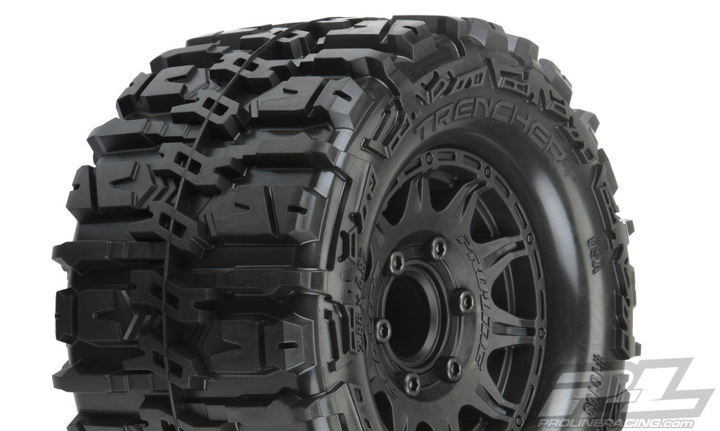 "Pro-Line Trencher HP 2.8"" All Terrain BELTED Truck Tires Mounted on Raid Black 6x30 Removable Hex Wheels (2) PRO10168-10"