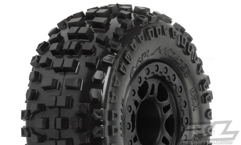 "Pro-Line Badlands SC 2.2""/3.0"" M2 Tires Mounted on Split Six Wheels (2), fits Slash Rear, Slash 4x4, Blitz PRO1182-22"