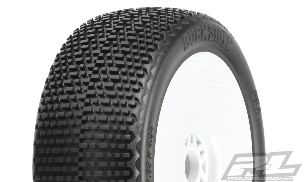 Pro-Line Buck Shot M3 (Soft) Off-Road 1:8 Buggy Tires, Mounted on V2 White Wheels, for Front or Rear (2pcs) PRO9062-32