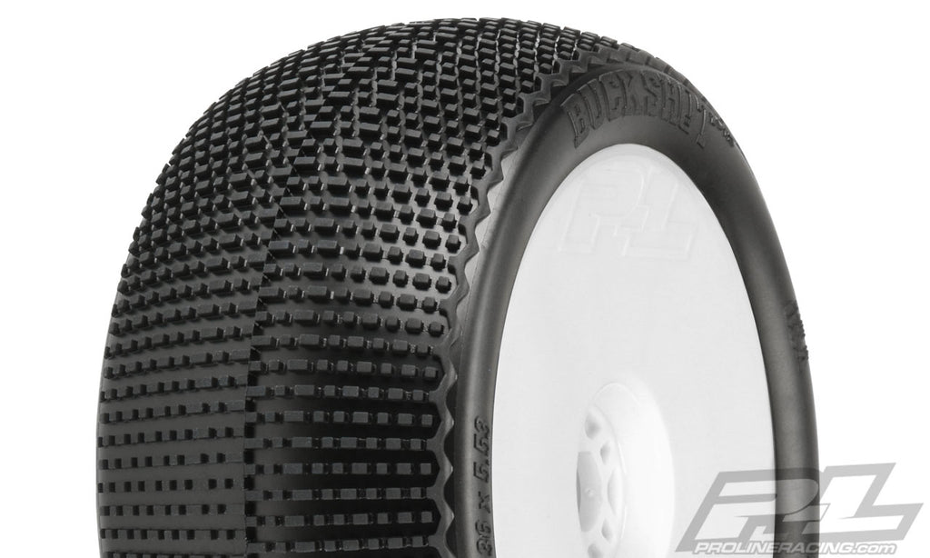 "Pro-Line Buck Shot VTR 4.0"" S3 (Soft) Off-Road 1:8 Truck Tires, Mounted on White Zero offset VTR Wheels (2) PRO9063-233"