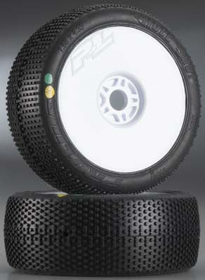 Pro-Line Hole Shot X3 Soft Off-Road 1/8 Buggy Tires Mounted on Lightweight Velocity White Wheels (2)  PRO9041-033