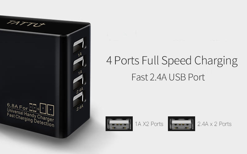 Tattu 34W 4 Ports USB AC Adapter 6.8A Wall Charger for iPhone, iPad, Samsung, Smartphones and Tablets PST-34U4-LB