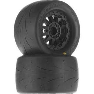 "Pro-Line Prime 2.8"" (Traxxas Style Bead) Street Tires Mounted on F-11 Black Rear Wheels (2) for Electric Stampede/Rustler Rear"